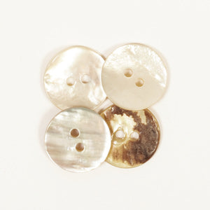 Drops Arched White Mother of Pearl Button - 15mm