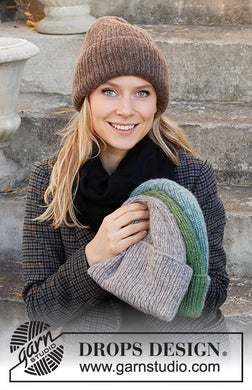 Winter Smiles Hat by DROPS Design Knitted Beanie / Hipster Hat Knitting Kit