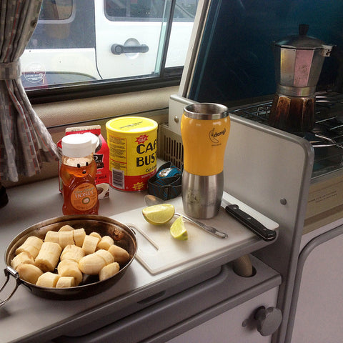 Van Breakfast. Bananas with honey and lime juice and stovetop espresso.