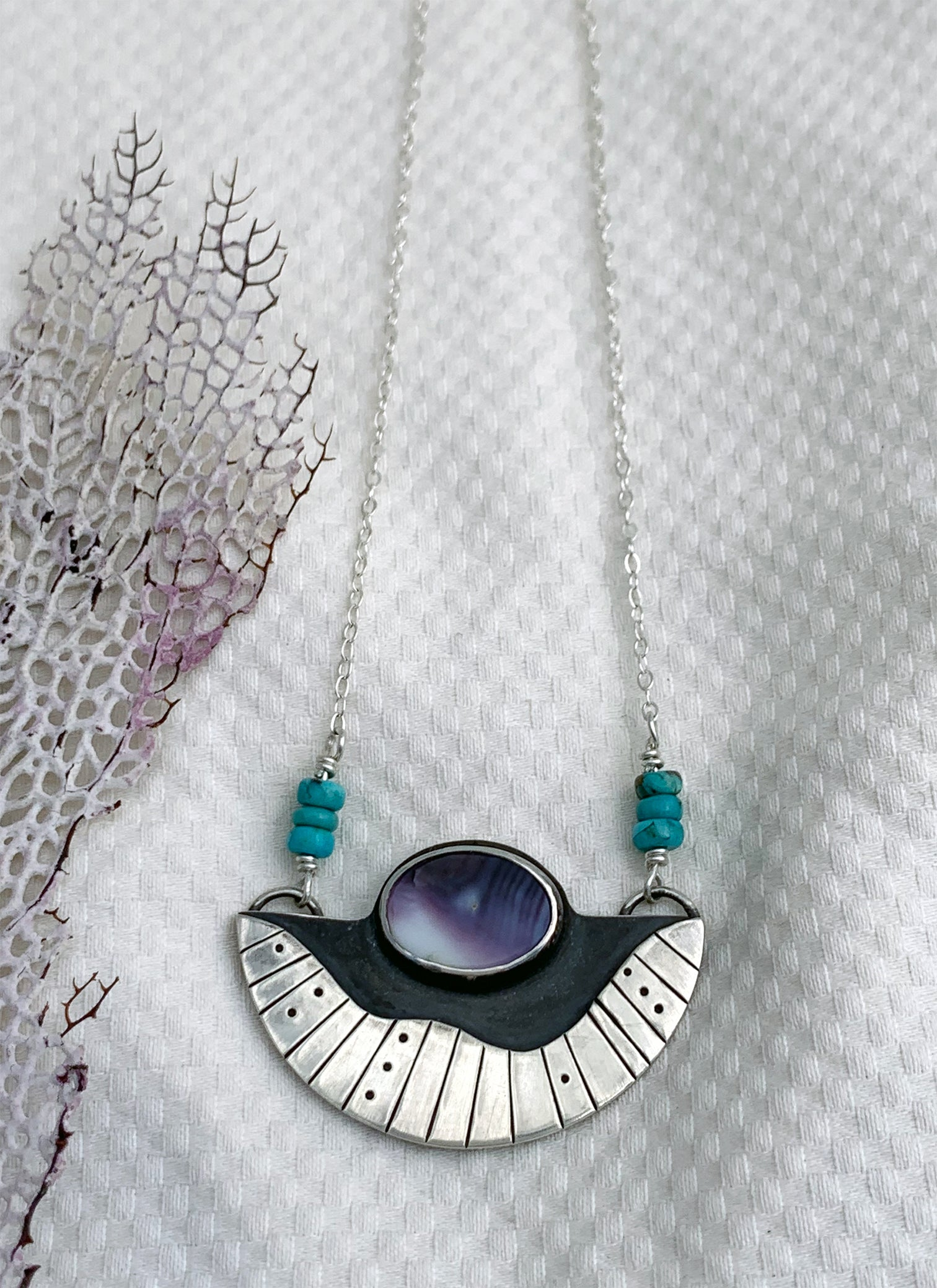Surfacing Pendant with Wampum and Turquoise