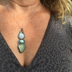 Sirena Trio Pendant with Rainbow Moonstone, Larimar and Natural Sea Glass Shown Being Worn