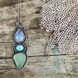 Sirena Trio Pendant with Rainbow Moonstone, Larimar and Natural Sea Glass