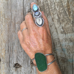 Luxe Beachcomber Cuff with Extra Large Deep Green Seaglass Shown on Wrist