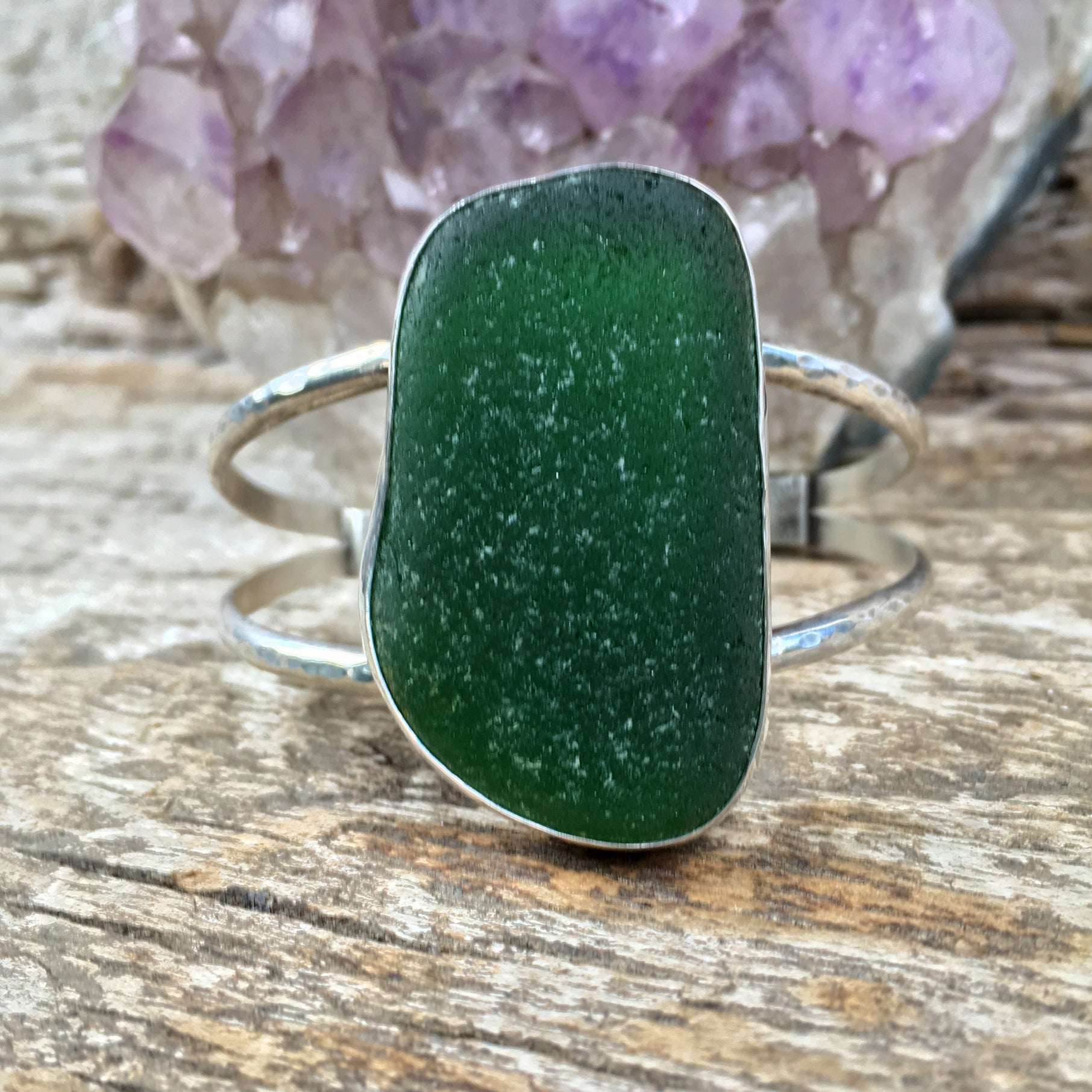 Luxe Beachcomber Cuff with Extra Large Deep Green Seaglass