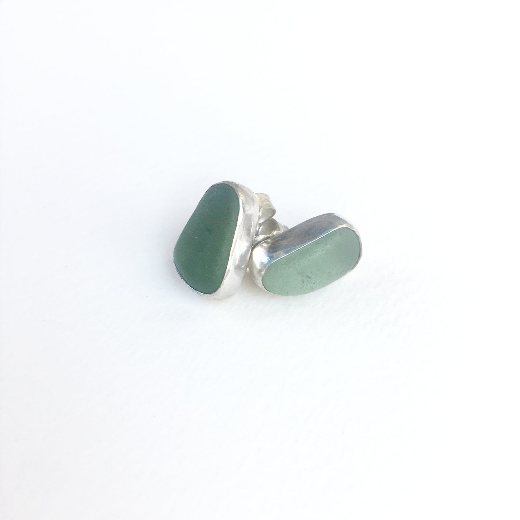 Seafoam Sea Glass Studs Shown on White Background