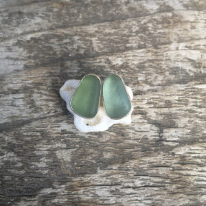 Seafoam Sea Glass Studs
