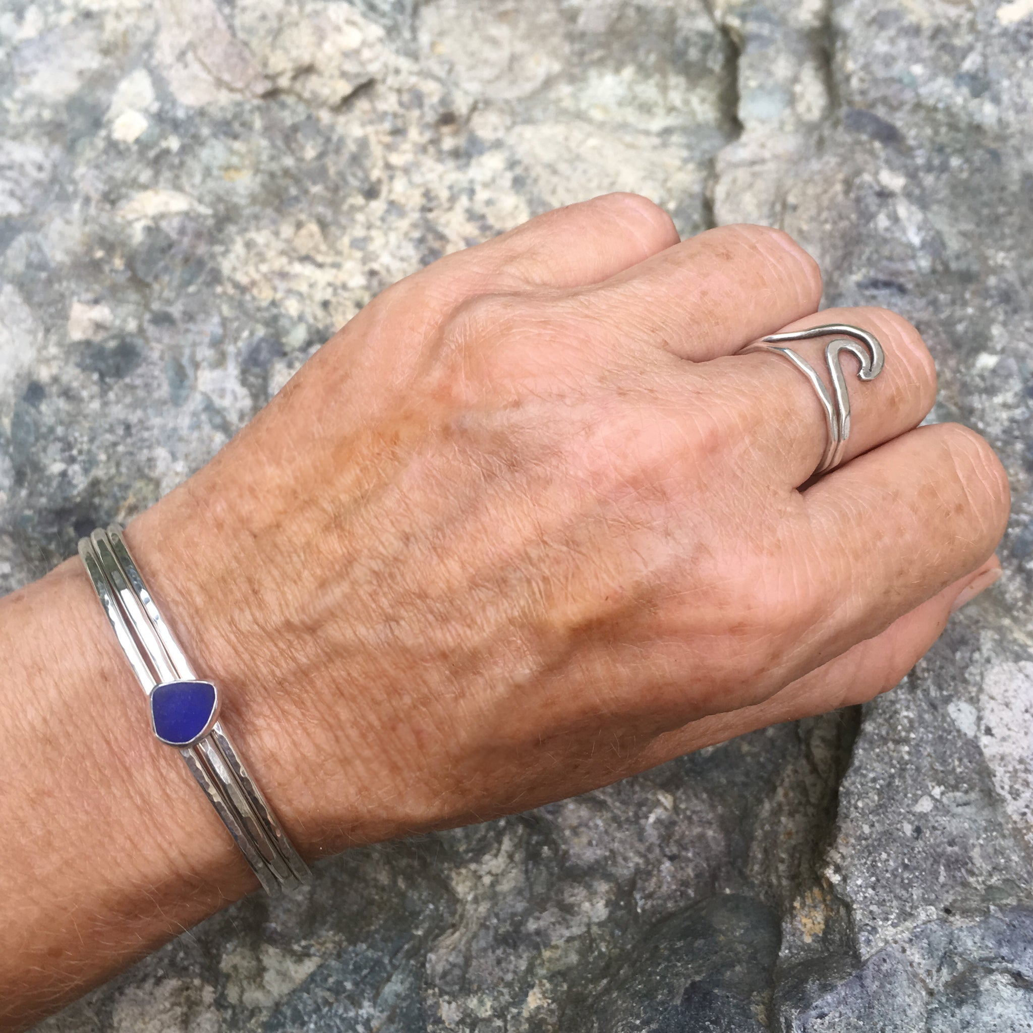 Beachcomber-Seaglass-Stacking-Cuff-Cobalt-Blue-Shown-On-Wrist
