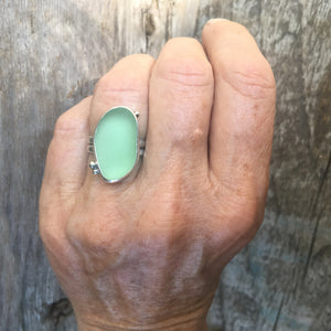 Cove Ring with Genuine Sea Glass Shown on Hand