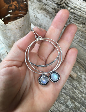 Crescent  Moon Hoops with Rainbow Moonstone Shown in Hand