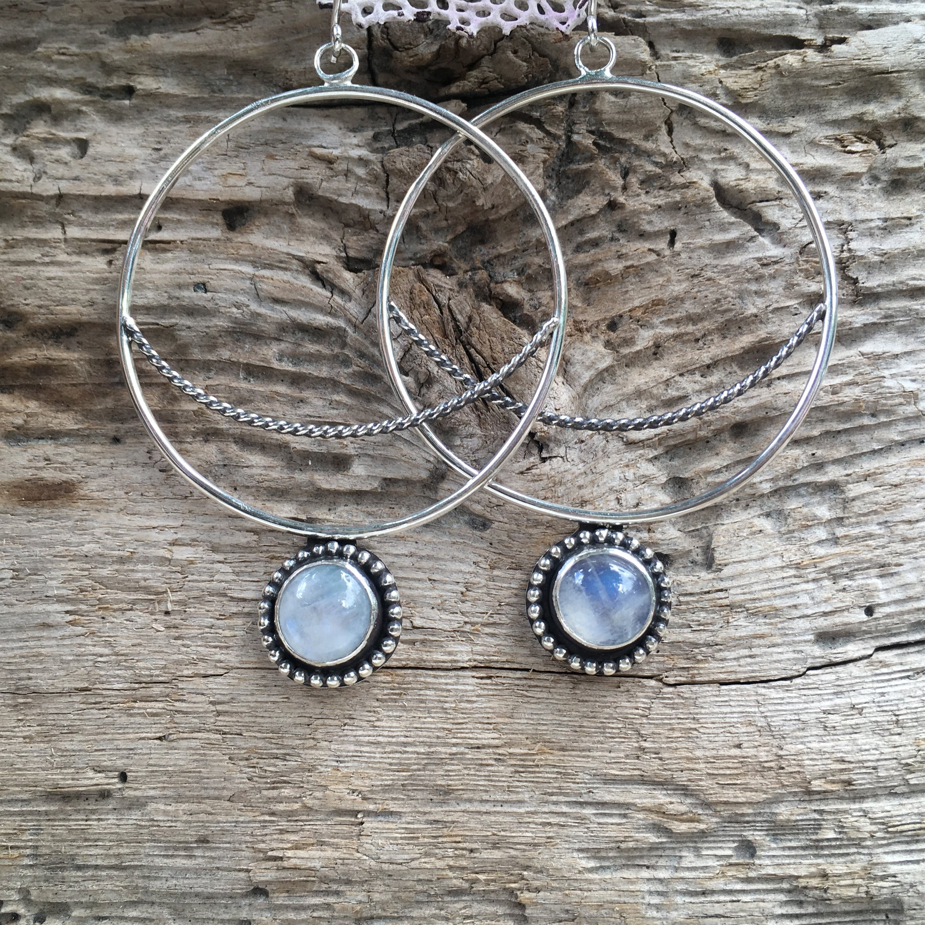 Crescent  Moon Hoops with Rainbow Moonstone
