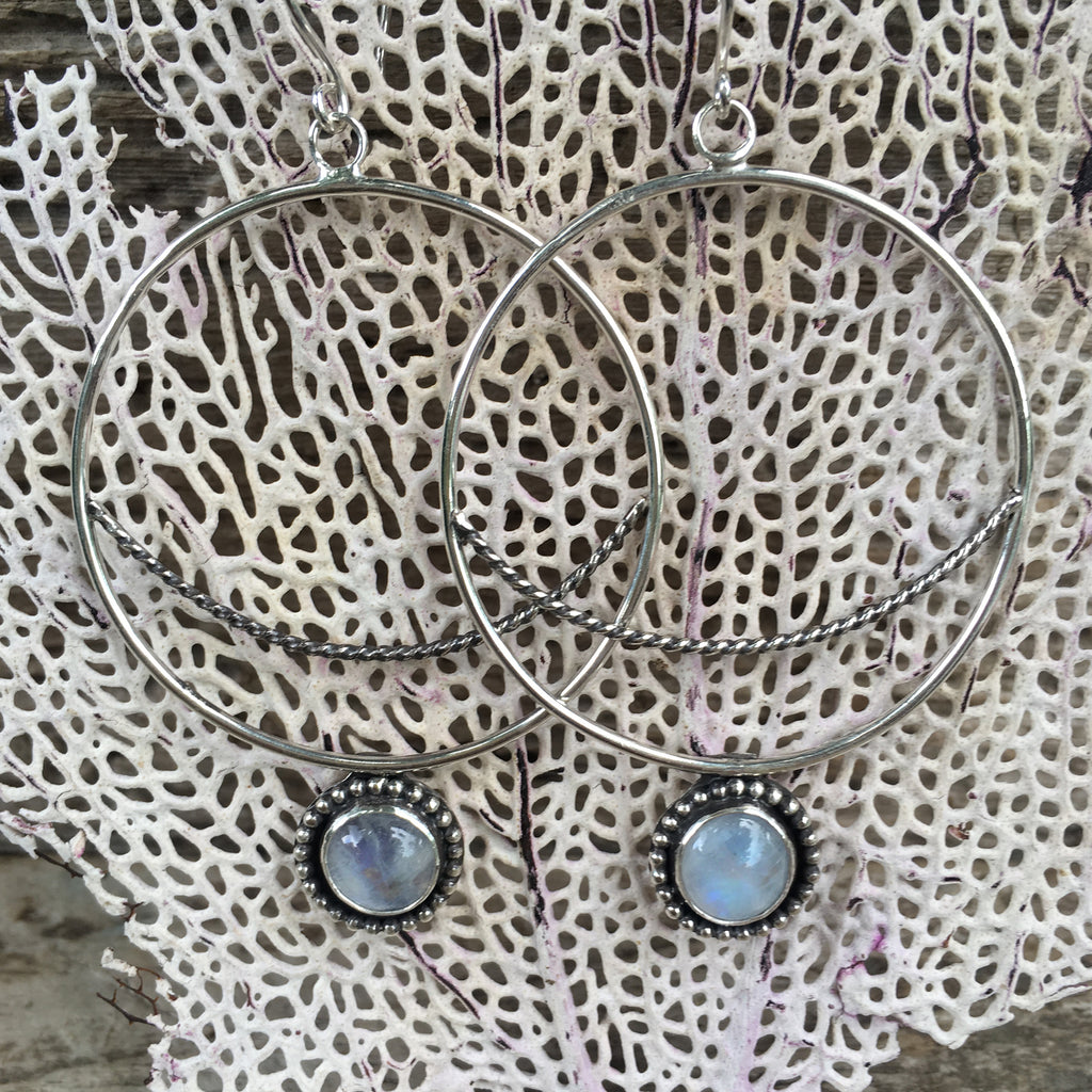 Crescent  Moon Hoops with Rainbow Moonstone on Sea Fan