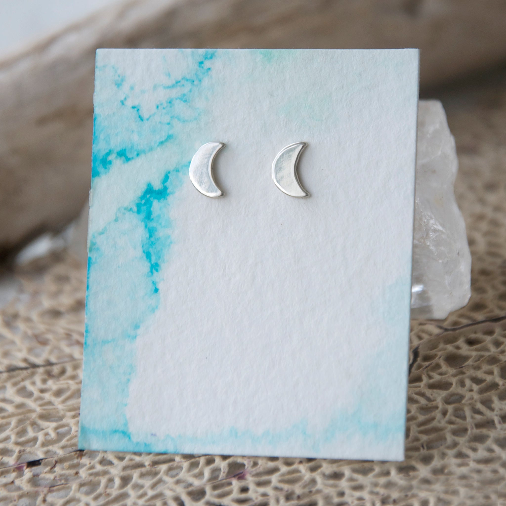 Crescent-Moon-Studs-On-Handmade-Watercolor-Paper-Smooth