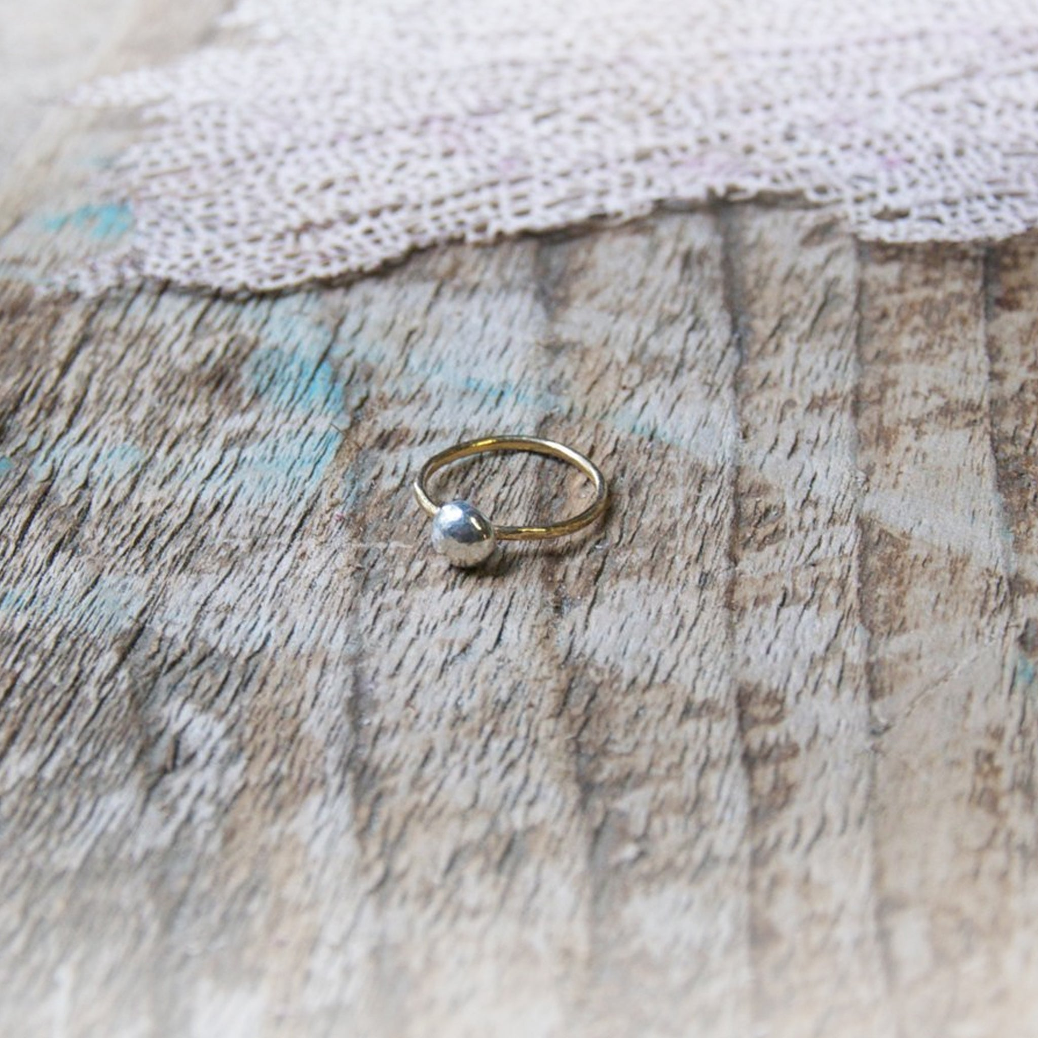 Deep Dive Silver Pearl Stacking Ring