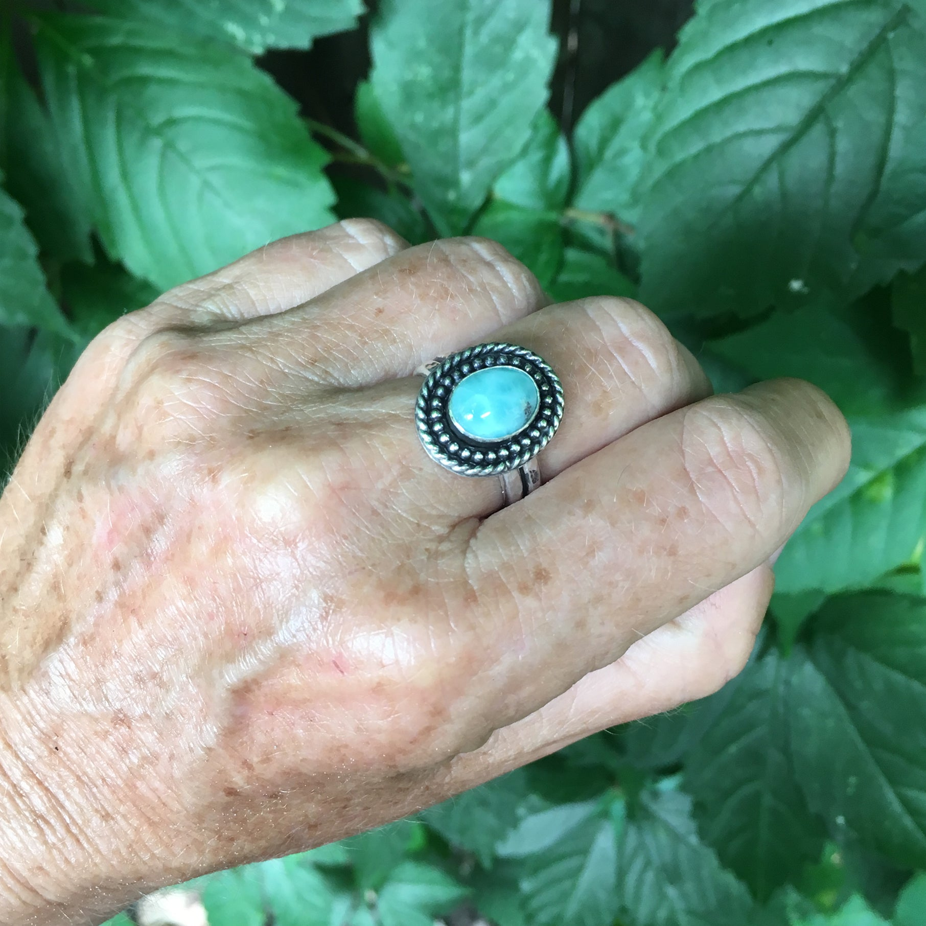 Larimar Shield Ring Shown on Hand