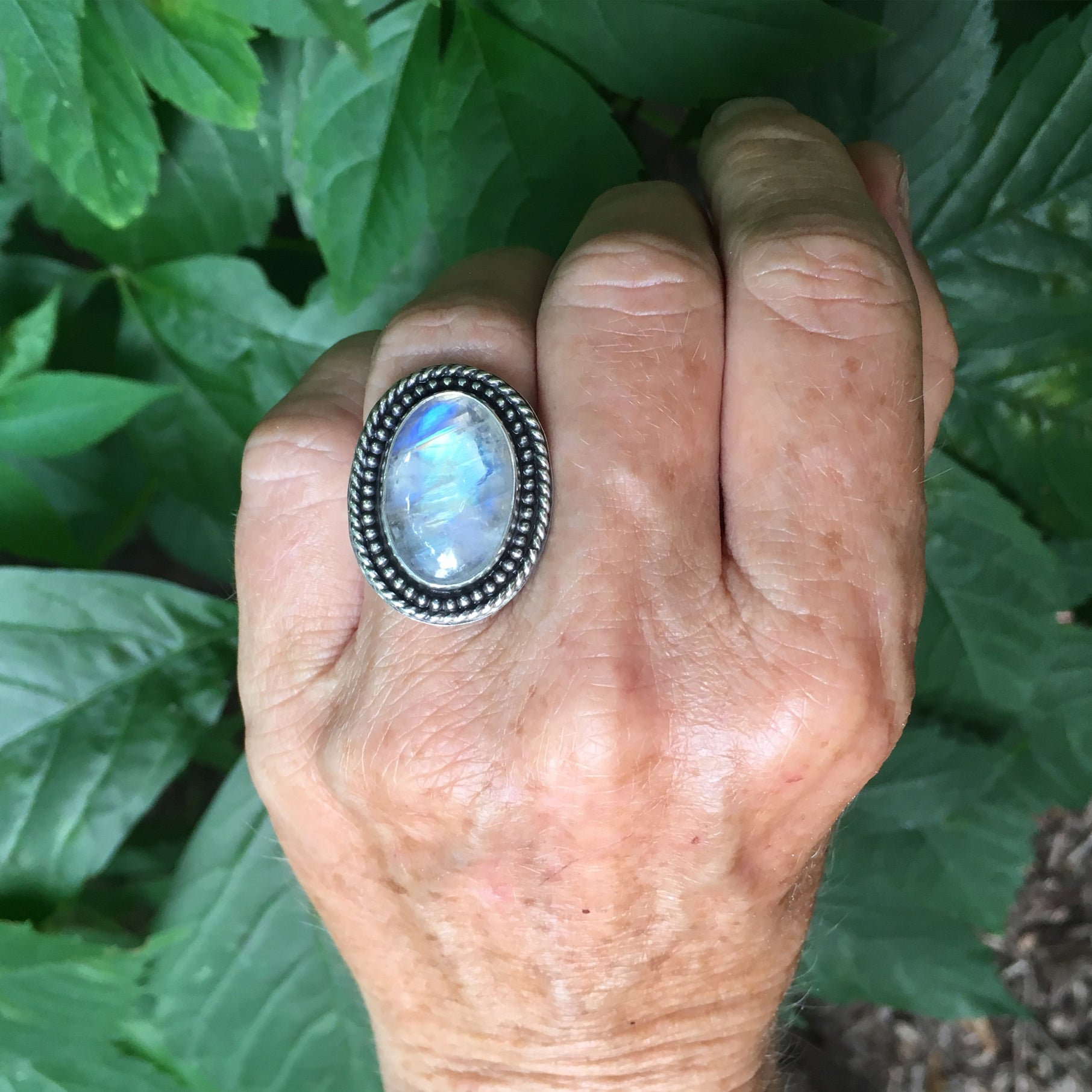 Rainbow Moonstone Shield Ring Shown on Hand