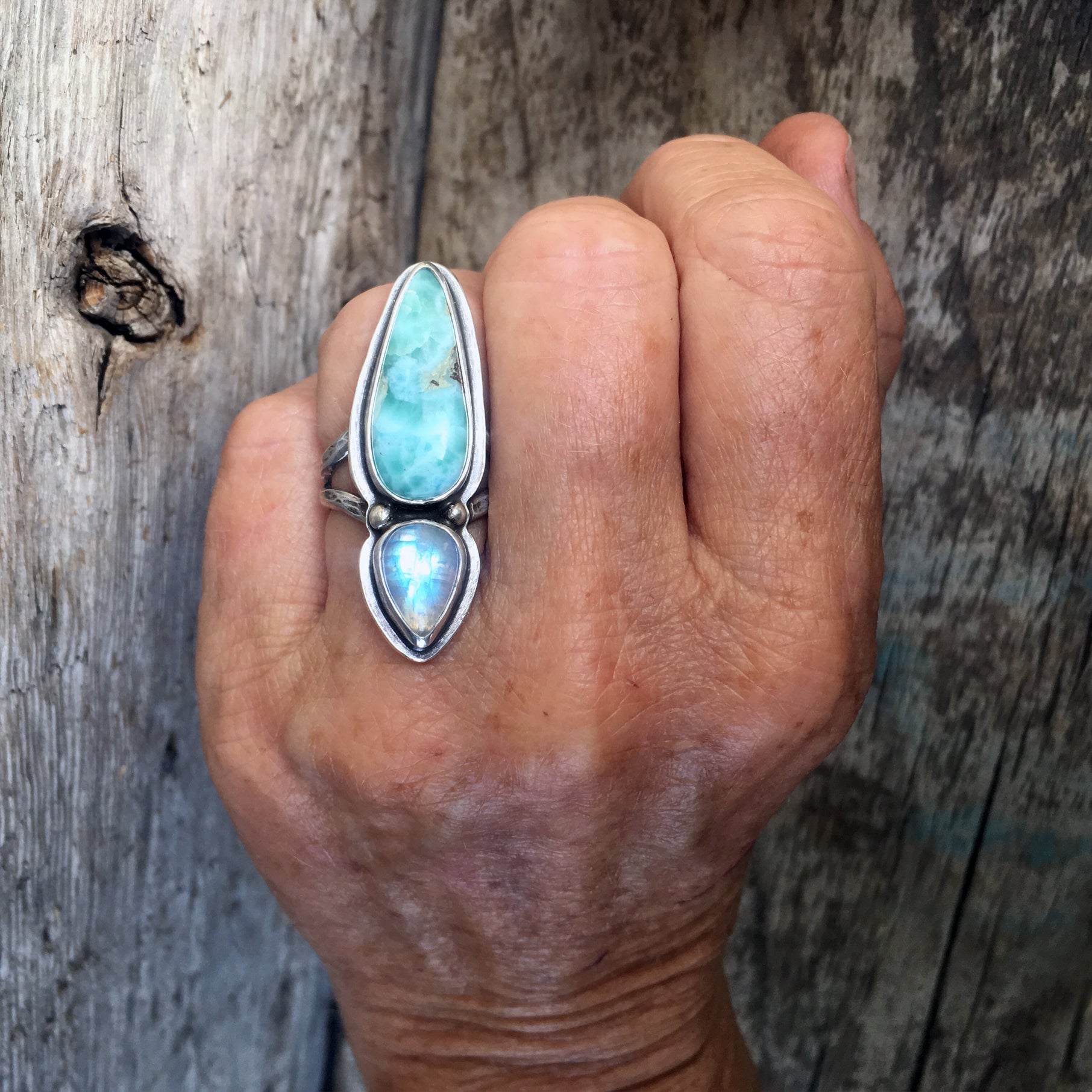 Double Amulet Ring with Larimar and Moonstone Shown on Hand