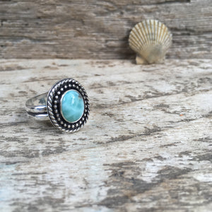 Larimar Shield Ring Shown at Angle