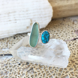Handcrafted-Kingman-Turquoise-and-Seafoam-Seaglass-Ring