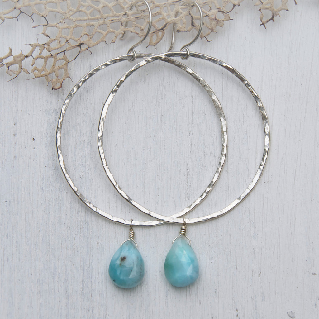 Large-Shimmering-Sterling-Silver-Hand-Hammered-Hoops-With-Larimar