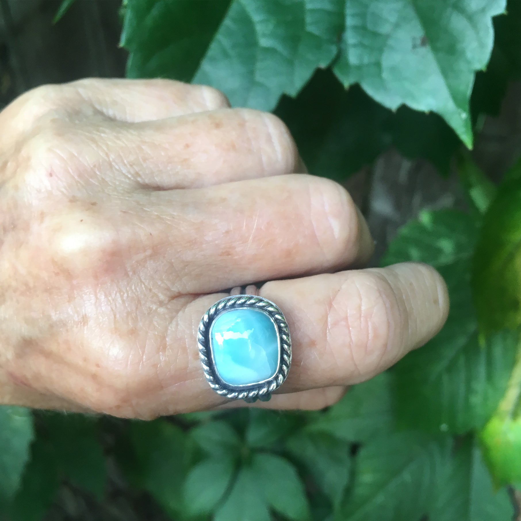 Larimar Unisex RIng Shown on Hand