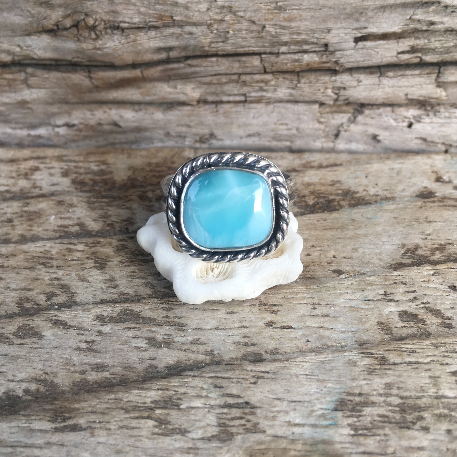 Single Amulet Larimar Unisex Ring