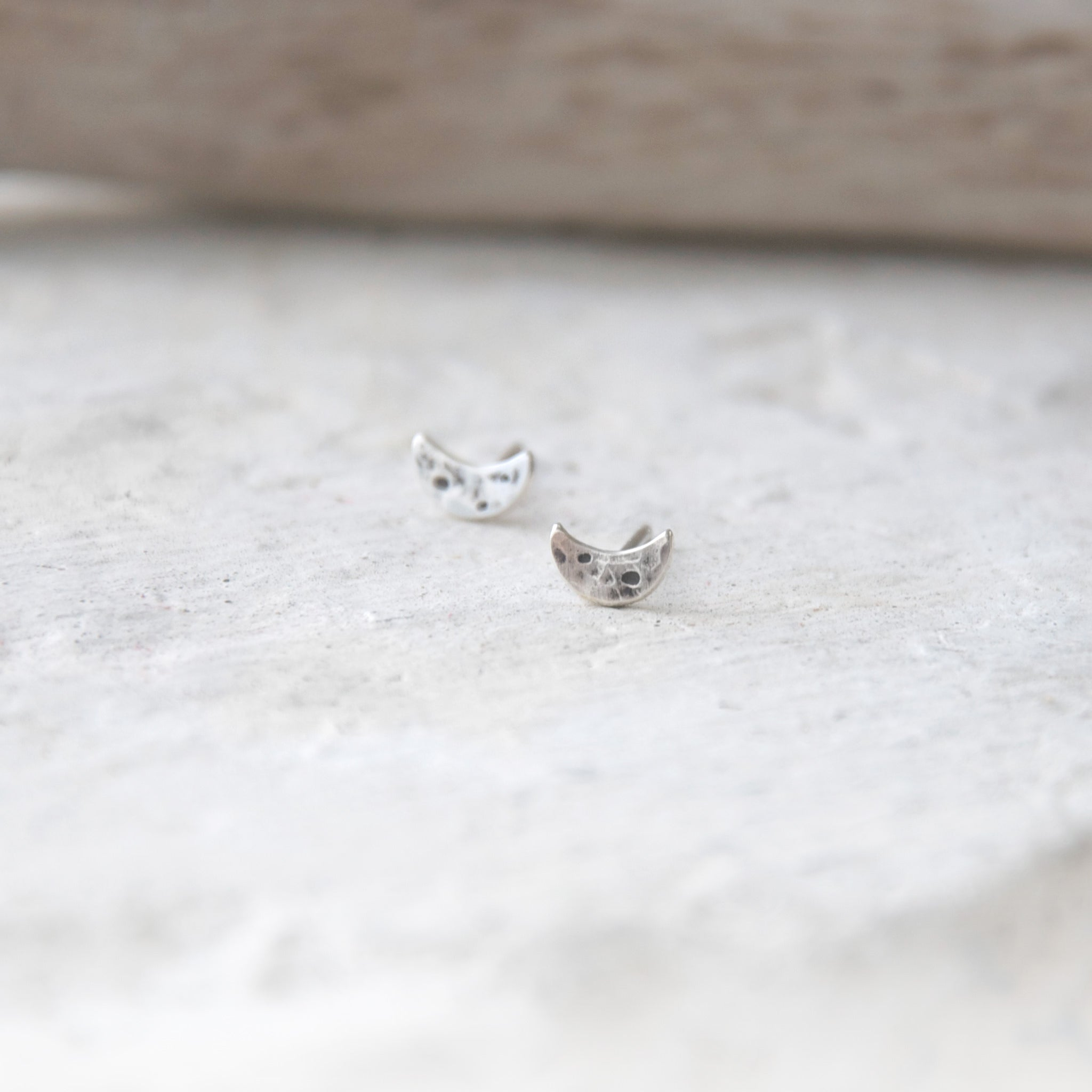 Lunar-Love-Crescent-Moon-Studs-Sterling-Silver-Hammered-Moon-Crater-Texture