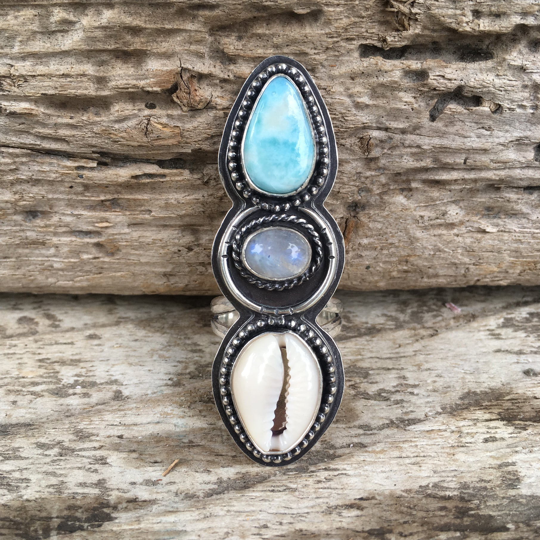 Alchemist Trio Ring with Larimar, Rainbow Moonstone and Cowry Shell
