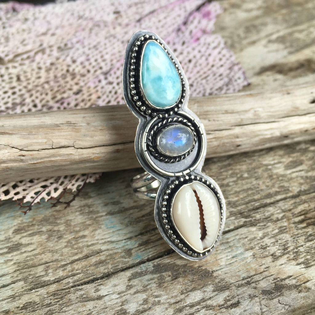 Alchemist Trio Ring with Larimar, Rainbow Moonstone and Cowrie Shell