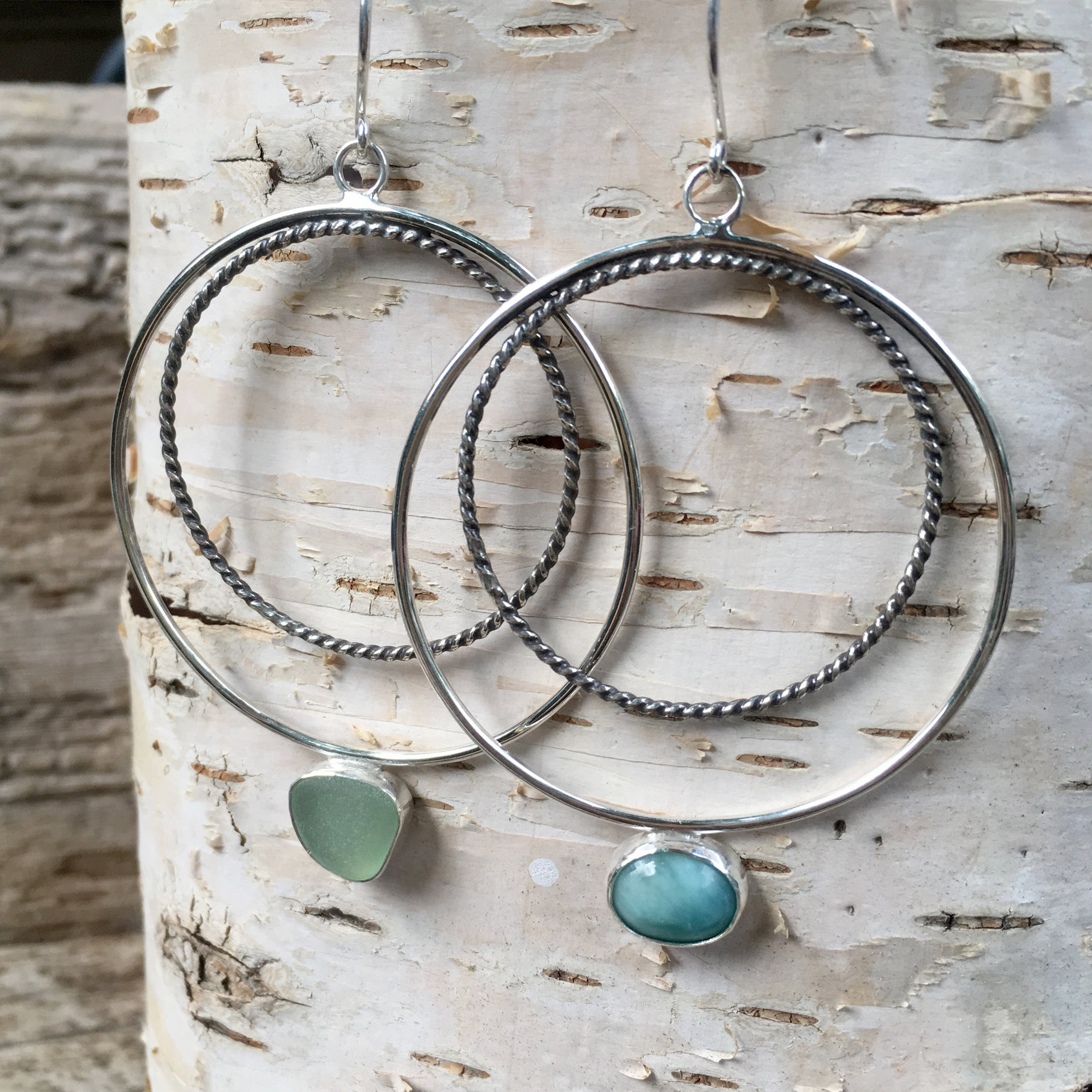 Wax and Wane Pendulum Hoops with Larimar and Sea Glass