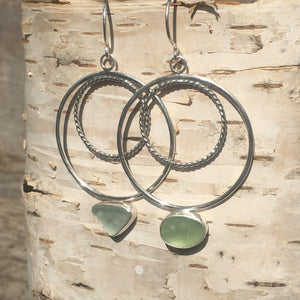 Wax and Wane Pendulum Hoops with Sea Glass in the Sun