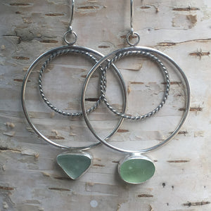 Wax and Wane Pendulum Hoops with Sea Glass