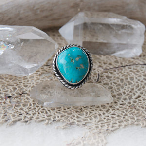 Dawntreader Ring with Rare Natural Kingman Turquoise