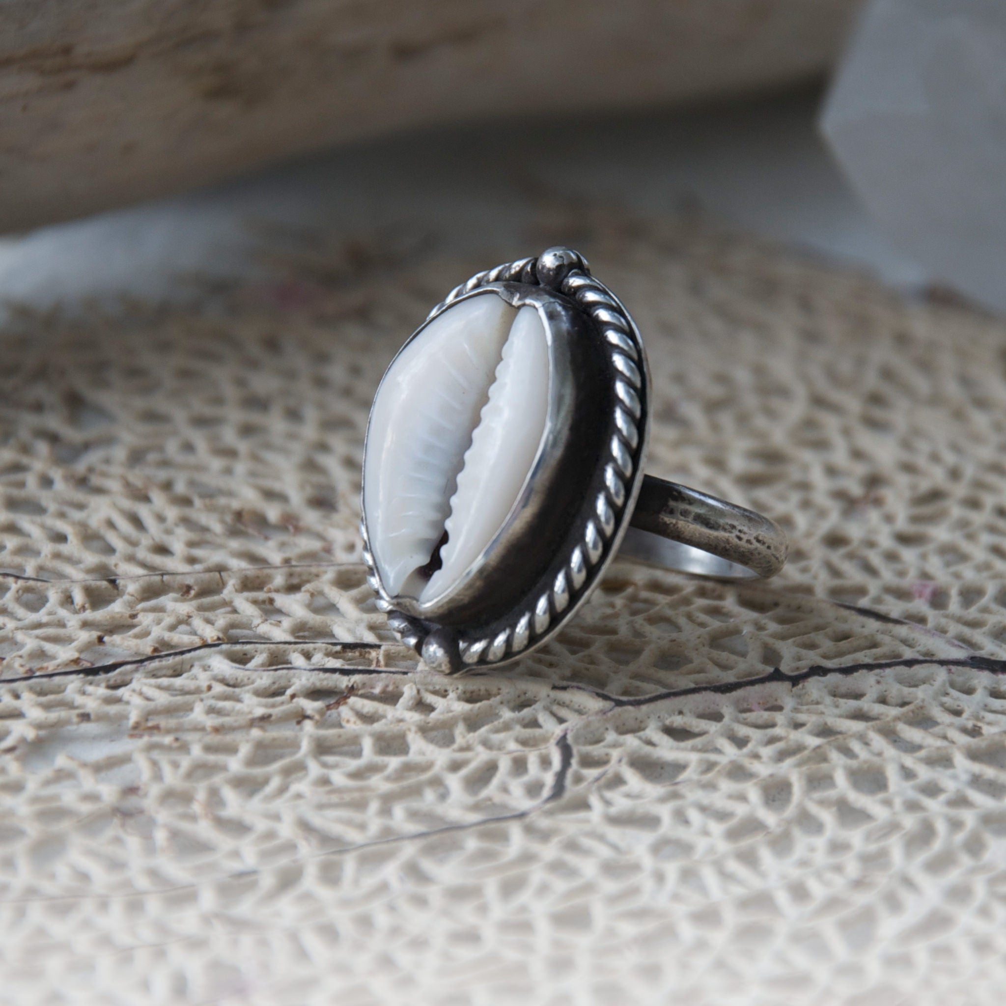 Nautical-Sterling-Silver-Cowry-Shell-Ring-Angled-View