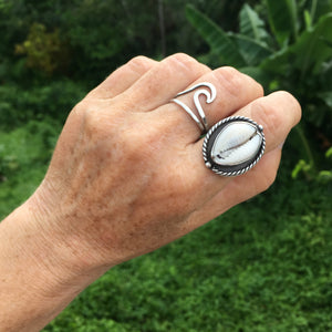 Nautical-Sterling-Silver-Cowry-Shell-Ring-on-Hand-by-Special-J-Creations