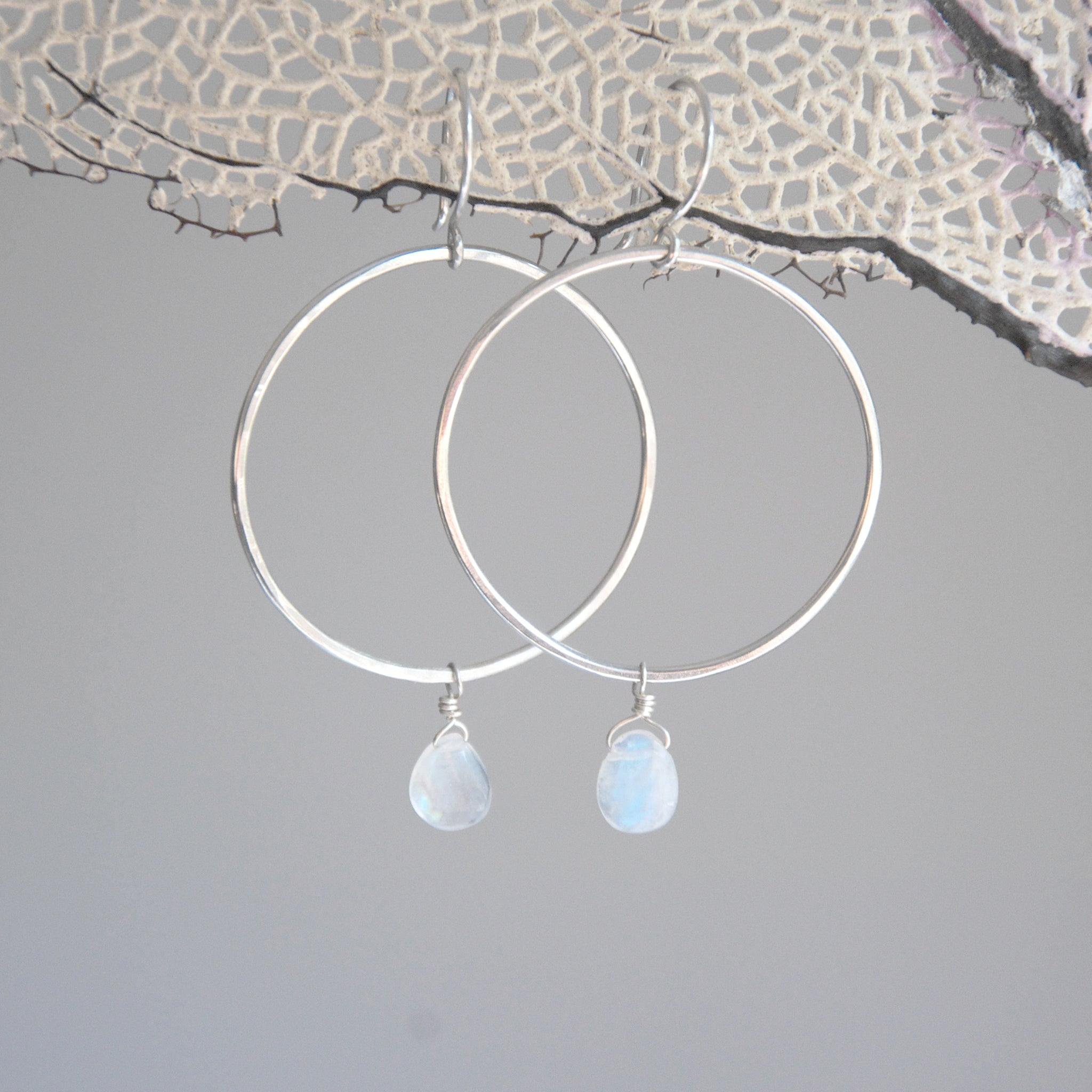 Organic-Handforged-Sterling-Silver-Hoops-With-Flashy-Rainbow-Moonstone-Closer-Up