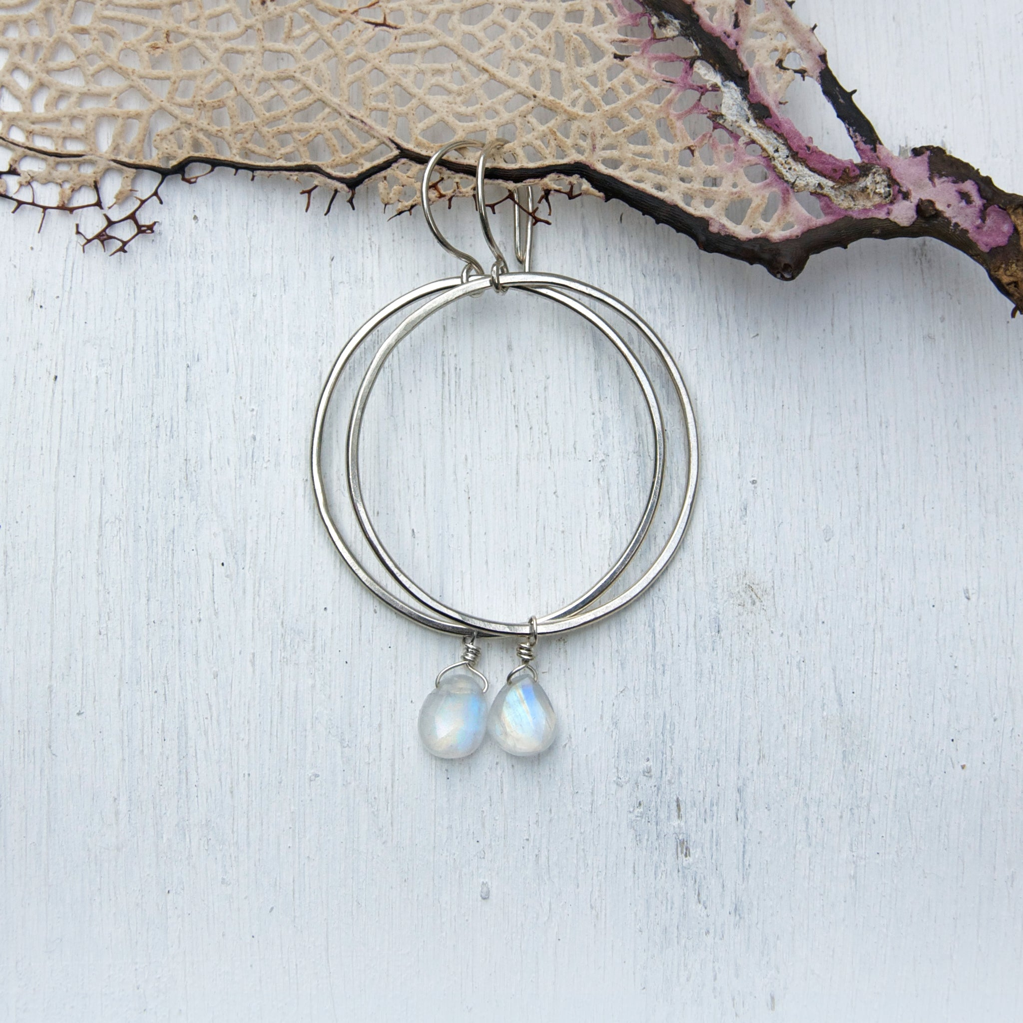 Organic-Handforged-Sterling-Silver-Hoops-With-Flashy-Rainbow-Moonstone