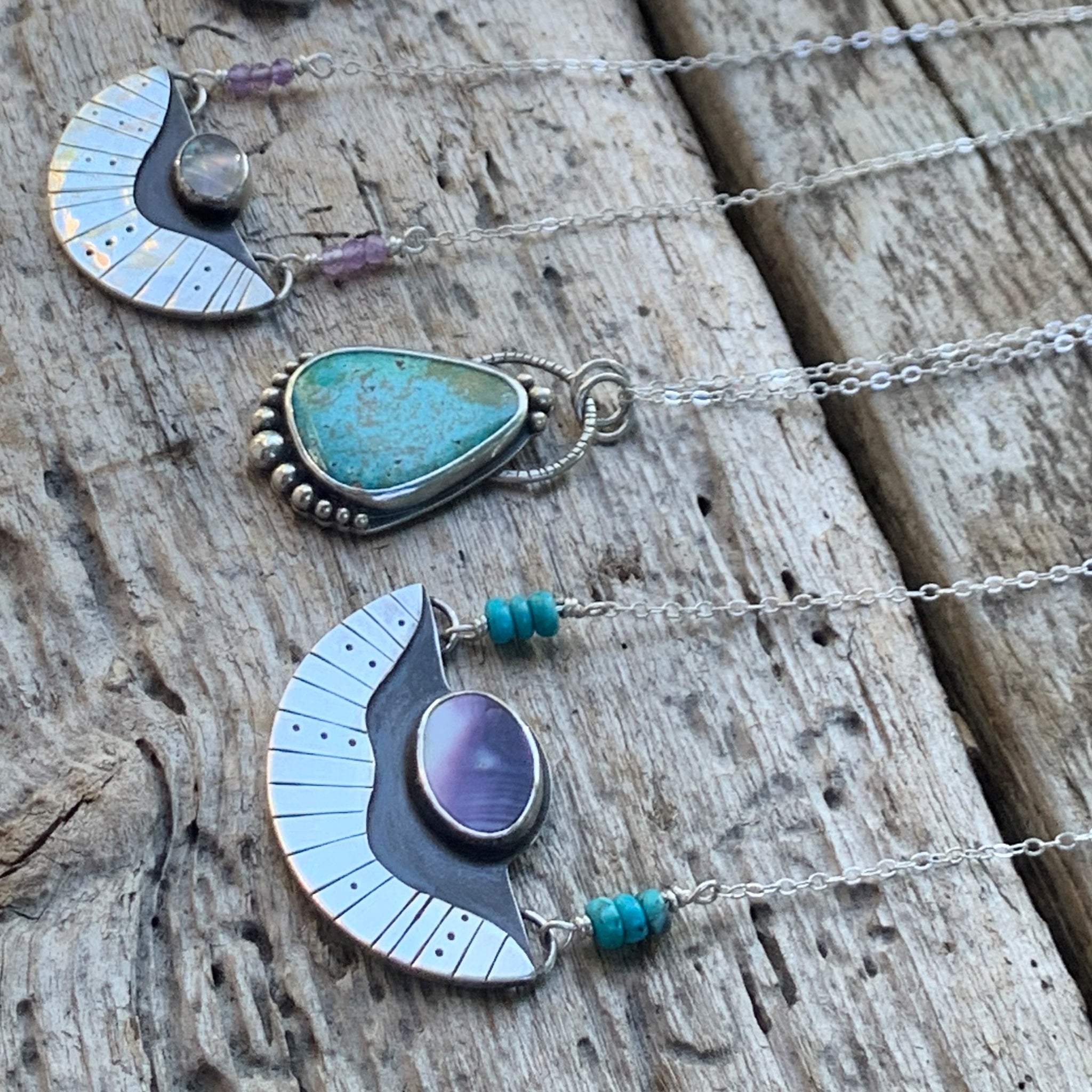 Surfacing Pendant with Wampum + Turquoise
