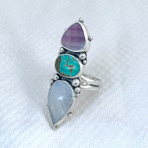Power Trio Ring with Wampum, Turquoise + Moonstone Size 8 1/4