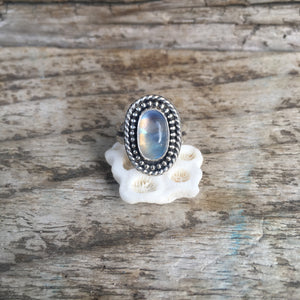 Rainbow Moonstone Shield Ring