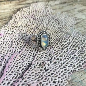 Rainbow Moonstone Shield Ring Shown at Angle