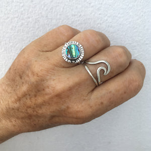 Rainbow-Ring-Abalone-Shell-and-Sterling-Silver-Shown-on-Hand