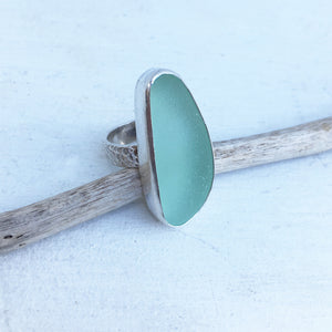 Rare-Seafoam-Seaglass-and-Sterling-Silver-Ring-with-Textured-Band