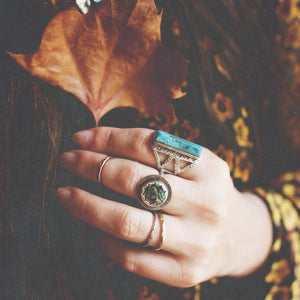 Sea-Flower-Abalone-Shell-Ring-on-Stylist-Photographer-Laura-Mazurek-for-Bohemian-Collective-Hand-Closer-Up