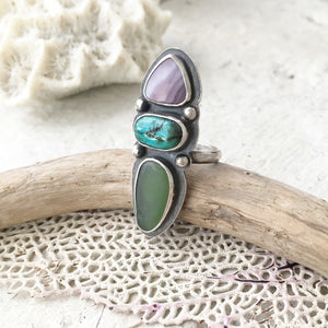 Sea-and-Sky-Trio-Ring-Wampum-Turquoise-and-Sea-Glass-Set-in-Sterling-Silver-Another-Finished-Example