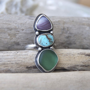 Sea-and-Sky-Trio-Ring-Wampum-Turquoise-and-Sea-Glass-Set-in-Sterling-Silver-Boho-Jewelry
