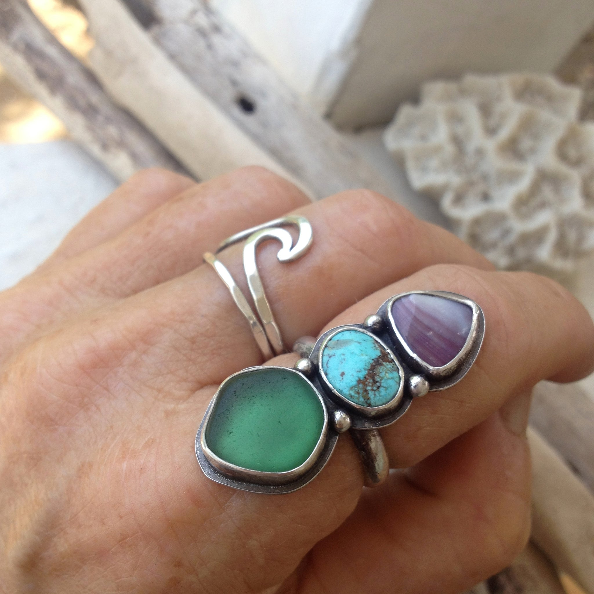 Sea-and-Sky-Trio-Ring-Wampum-Turquoise-and-Sea-Glass-Set-in-Sterling-Silver-Shown-on-Hand
