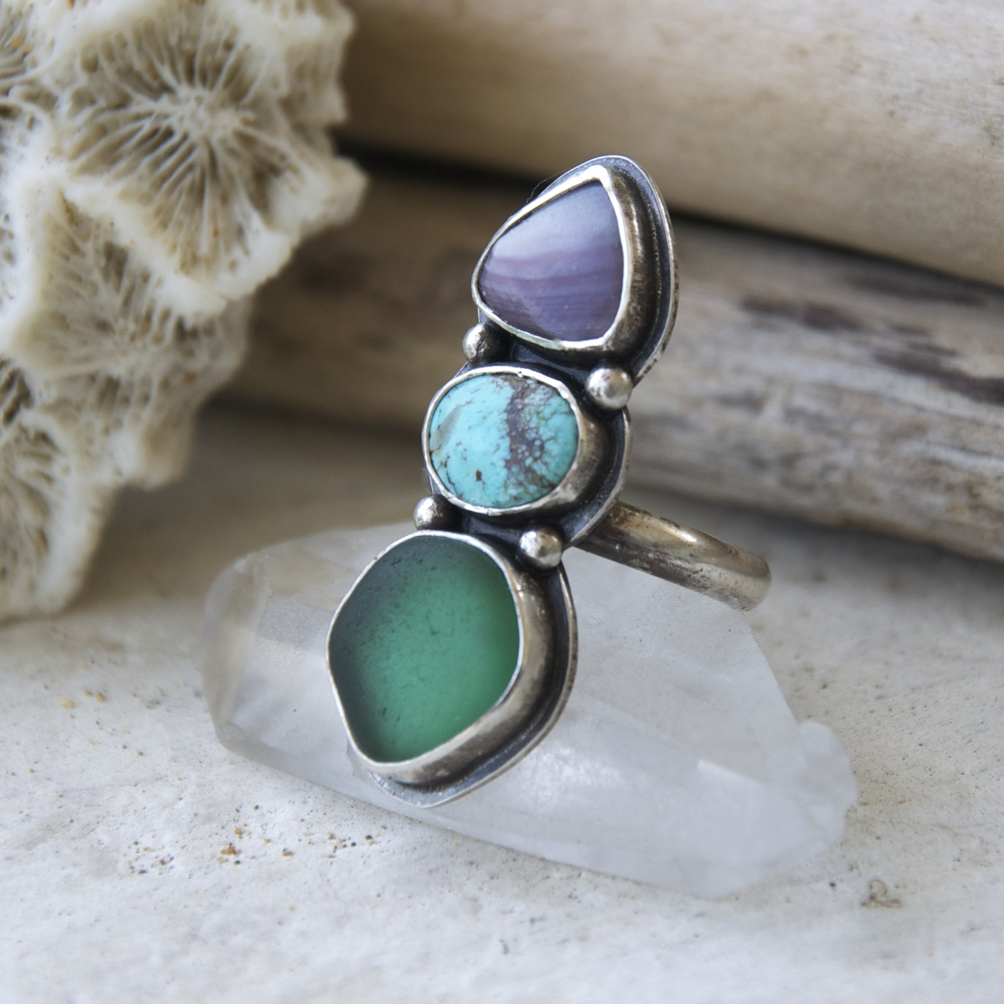 Sea-and-Sky-Trio-Ring-Wampum-Turquoise-and-Sea-Glass-Set-in-Sterling-Silver