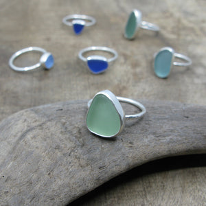 Sea Glass Rings in a Group