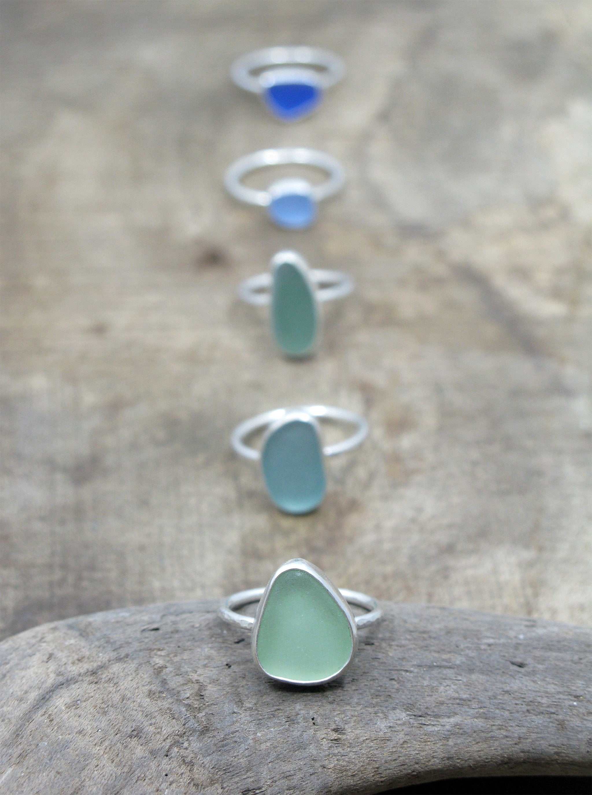 Sea Glass Rings in a Line.