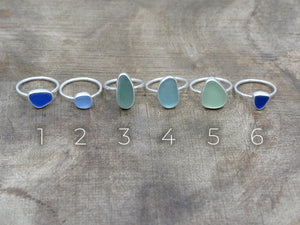 Sea Glass Rings. Numbered photo for selections.